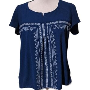 Society girl bohemian blue embroidered blouse sm